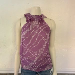 Italian Purple Silk Sleeveless Blouse